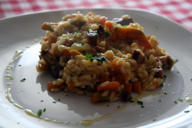 Filet de sandre sur risotto aux légumes